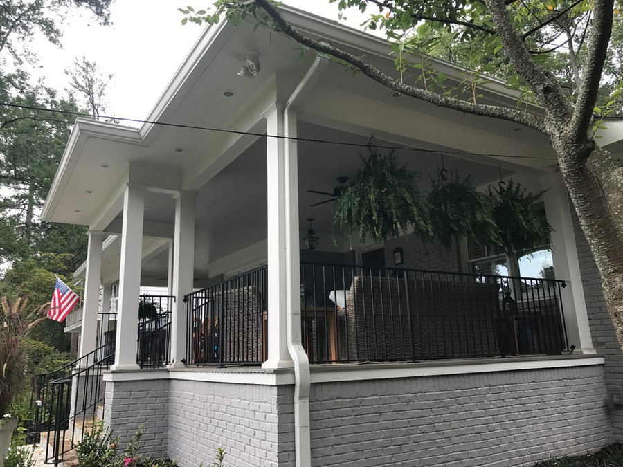 New Covered Front Porch & Roof - Painted House, Window Sashes