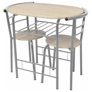 Contemporary MDF and Iron Frame Dining Set, Silver