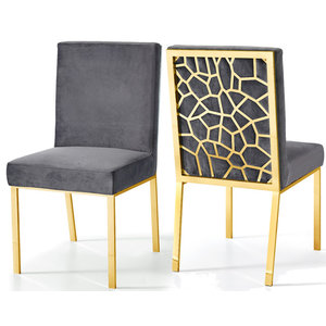 Opal Velvet Dining Chairs Set Of 2 Contemporary