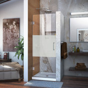 DreamLine Hinged Sliding Shower Door, Half Frosted Glass Door