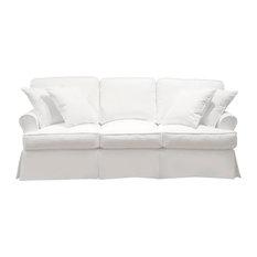 Horizon T-Cushion Slipcovered Sofa, Performance Fabric, White