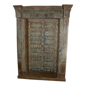 Mogulinterior - Consigned Antique Doors Hand-Carved Bookshelf With Original Brass And Iron - Bookcases