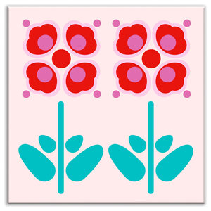 """6""""x6"""" Folksy Love Glossy Decorative Tile, Pressed Flowers Red"""