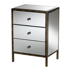 Matthew Hollywood Regency Glamour Mirrored 3-Drawer Nightstand Bedside Table