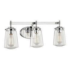 Linville 3-Light Vanity-Light, Glass Shade, Polished Chrome Finish
