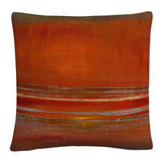 Red Horizon' Abstract Bold Industrial Decorative Throw Pillow