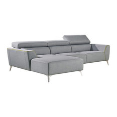 Vig Furniture Inc. - Divani Casa Sawtelle Modern Gray Fabric Sectional Sofa - Sectional Sofas