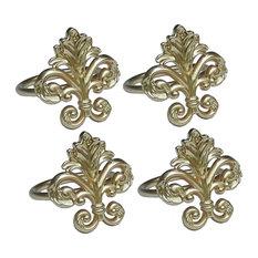 Fleur de Lis Elegant Metal Napkin Rings, Gold, Set of 4
