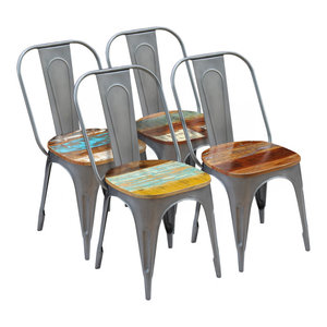 vidaXL Solid Reclaimed Wood Dining Chairs, 47x52x89 cm, Set of 4