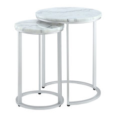 2-Piece Inspired Home Araya End Table Round Marble/Stackable Silver