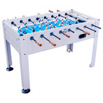 "Park & Sun Sports - Blue Sky 1100 Soccer Table - Rack up points with this versatile soccer table. Unique design allows you to play inside or outside.  Constructed with weather-resistant materials  with PVC panels and table dimensions of 57"" L x 30"" W x 34-1/2"" H. The table features raised corners to eliminate dead zones for more fast-paced play; durable carbon fiber playing rods and aluminum legs for added stability. Challenge friends and family to this traditional single-goalie action game. Includes 2 score bars and 2 game balls."