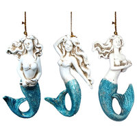 Spa Blue and White Mermaids Christmas Holiday Ornaments Set of 3