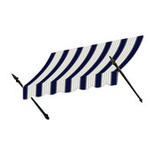 """6' New Orleans Awning, 56"""" Hx32"""" D, Navy, Gray/White"""