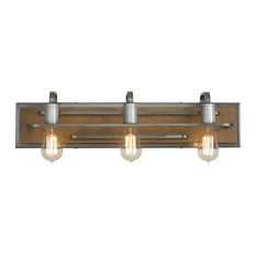 Lofty 3-Light Vanity Light, Wheat and Steel