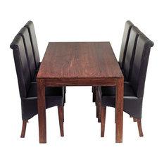 Santiago Dark Mango Wood 7-Piece Dining Set, Leather Chairs