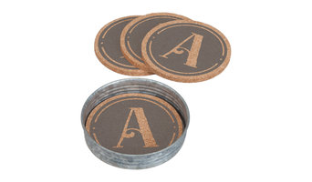 Set of 4 Monogram Coaster with Mason Jar Lid Holder