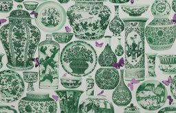 Jardin Bleu Fabric, Emeraude