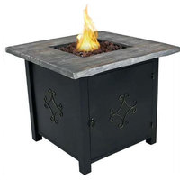 Outdoor Propane Fire Pit Table with Lava Rocks and Cover