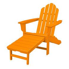 All-Weather Contoured Adirondack Chair, Hideaway Ottoman- Tangerine