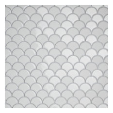 SomerTile Expressions Glass Mosaic Floor and Wall Tile, Scallop