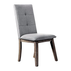 Abelone Mid-Century Modern Side Chair, Gray Fabric, Set of 2
