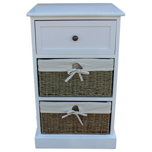 2-Drawer White Bedside Cabinet With Seagrass Baskets