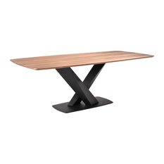 Everett Dining Table Matte Black Finish And Walnut Top