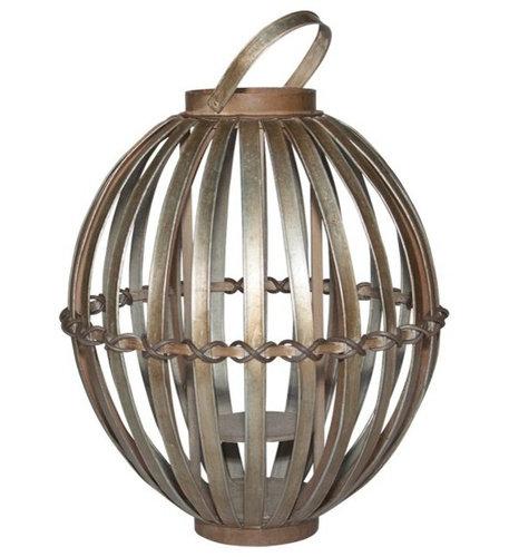 "Short Avery Lantern 15.75""x15.75""x19"" - Steel - Decorative Accents"