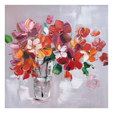 Hand Painted Flowers in Vase Wall Decor Artwork III