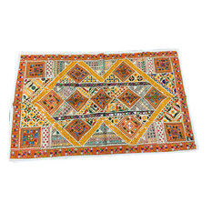 Mogul interior - Indian Vintage Style Yellow Orange Sari Tapestry Mirror Work Wall Throw - Tapestries