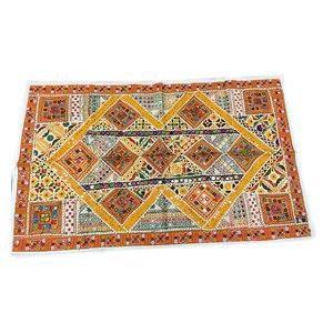 Mogul interior - Indian Vintage Style Yellow Orange Sari Tapestry Mirror Work Wall Throw - Tapestries