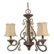 Gold Coast 3-Light Chandelier With Fabric Shades