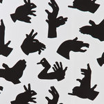 """PaperBoy Interiors Ltd - PaperBoy Interiors """"Hand Made"""" Wallpaper, Gray - PaperBoy was founded by a UK mother who wanted to create children's wallpaper that blends seamlessly with grown-up style. All of their Irish spun linens are designed and screen printed in England. This modern and minimalist wallpaper depicts animal shapes made from hands. This model features shadowy black print on a gray background. The print is suitable for boys' and girls' rooms as well as nurseries."""