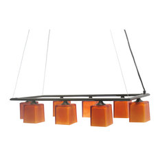 Oil Rubbed Bronze and Amber, Glass 8- Light Chandelier