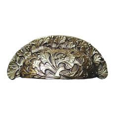 Florid Leaves Bin Pull Antique Brass