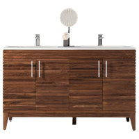 "Lineage 59"" Double Vanity, Mid Century Walnut w/ Matte White Solid Surface Top"
