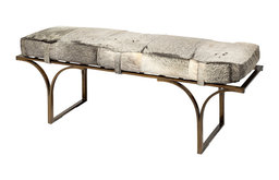 Jessie 55x19 Hair-on-Leather Seat and Brass Metal Base Accent Bench