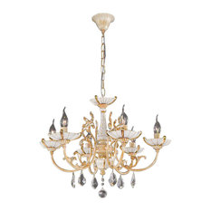 Antique Ceramic and Crystal Chandelier, French Gold