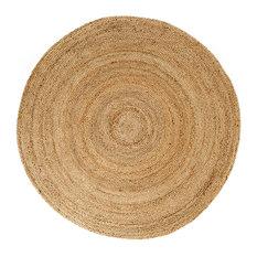 Kerala Natural Jute Rug, Natural and Brown, 4' Round