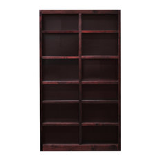 Concepts in Wood MI4884 Double Wide Bookcase, 12 Shelves, Cherry