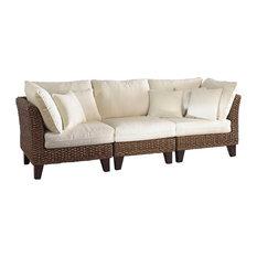 Panama Jack Sanibel 3-Piece Sofa Set Cushions Sunbrella Linen Silver