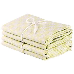 Axlings Chess Linen And Cotton Kitchen Towel, 2 Pack, Lemon and White