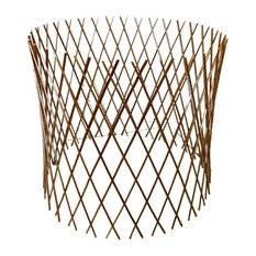 "Peeled Willow Circular Lattice Fence, Expandable to 24""x36"", Light Mohagony,"