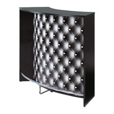 Modern Drinks Cabinet With Sliding Doors, Monochrome Tufting Effect