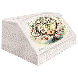 L'albero Dell'amore Wooden Bread Bin, Watercolour