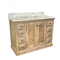 Marley Single-Sink Bathroom Vanity With Carrara White Marble Top, 48""