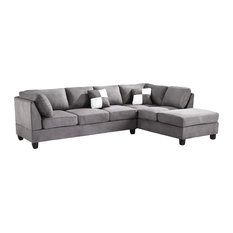 Solana Micro Suede Sectional, Gray