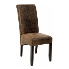 High Backed Chair, Black Finish Wooden Legs and Faux Leather Upholstery, Natural