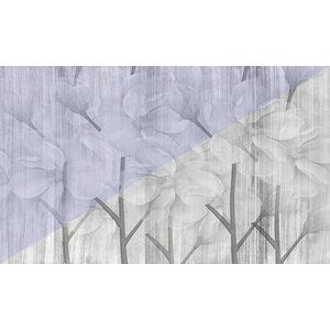 Violet Flowers Wallpaper, Non-Woven Paper, 270x400 cm