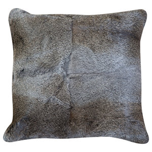 Grey Rabbit Skin Decorative Pillow, 40x40 cm